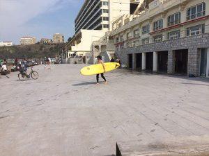 Utilisation par les surfeurs de la place Côte des Basques